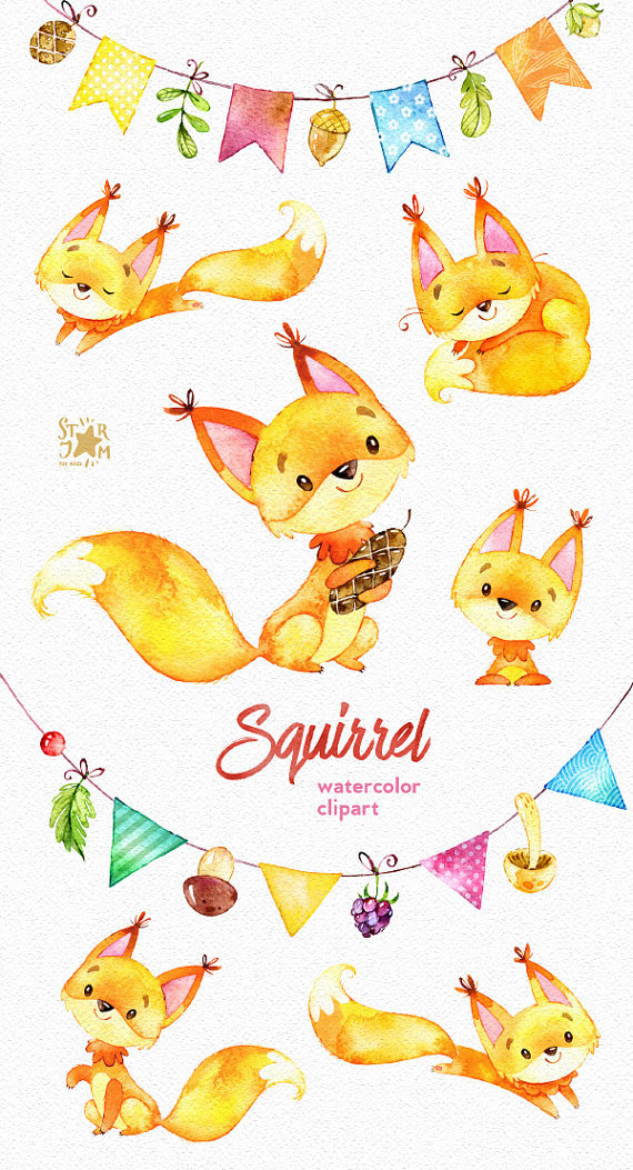 Squirrels and bunting banners. Forest greetings от StarJamforKids