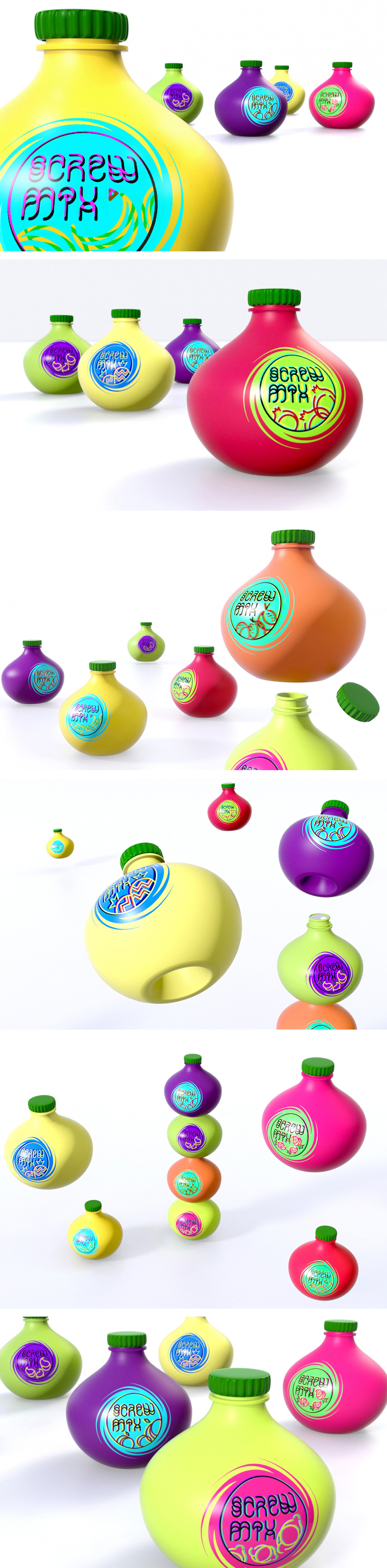 ScrewMix. Just mix the juices! Strawberry + banana, apple + pear, plum + banana... Concept by DotOrg. Vibrant #packaging PD
