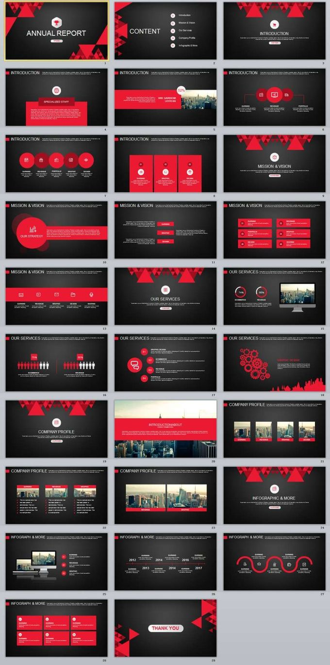 29+ red black annual report PowerPoint templates
