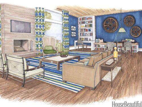 Scott Sanders设计的多功能家庭活动室邀请所有人观看电视,玩游戏,阅读书籍或聚集在壁炉周围。