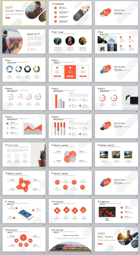 27+ red creative annual report PowerPoint templates