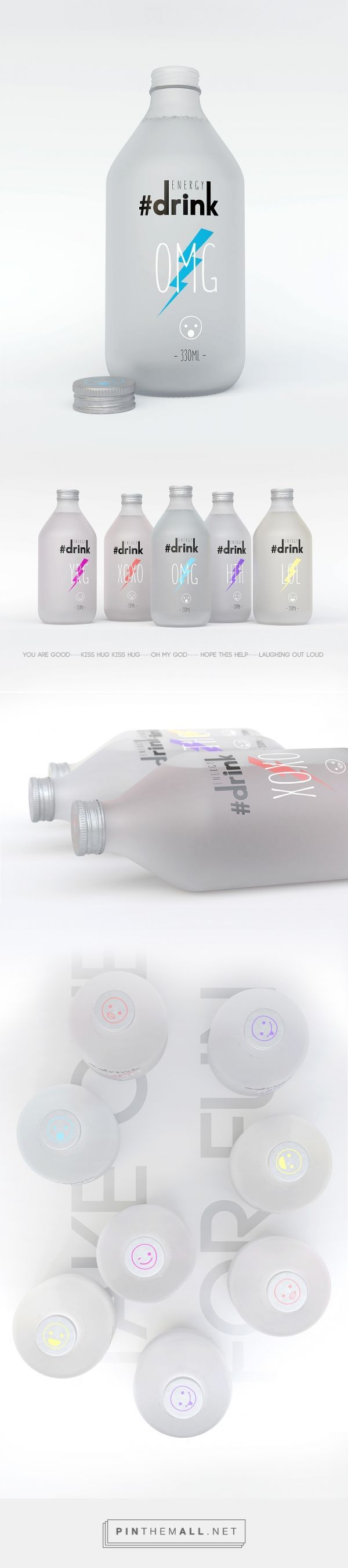 Art direction, packaging and branding for a Millennial Energy Drink on Behance by Doniyor Mamanov Almaty, Kazakhstan curated by Packaging Diva PD. OMG, hashtags and emoji's too : )