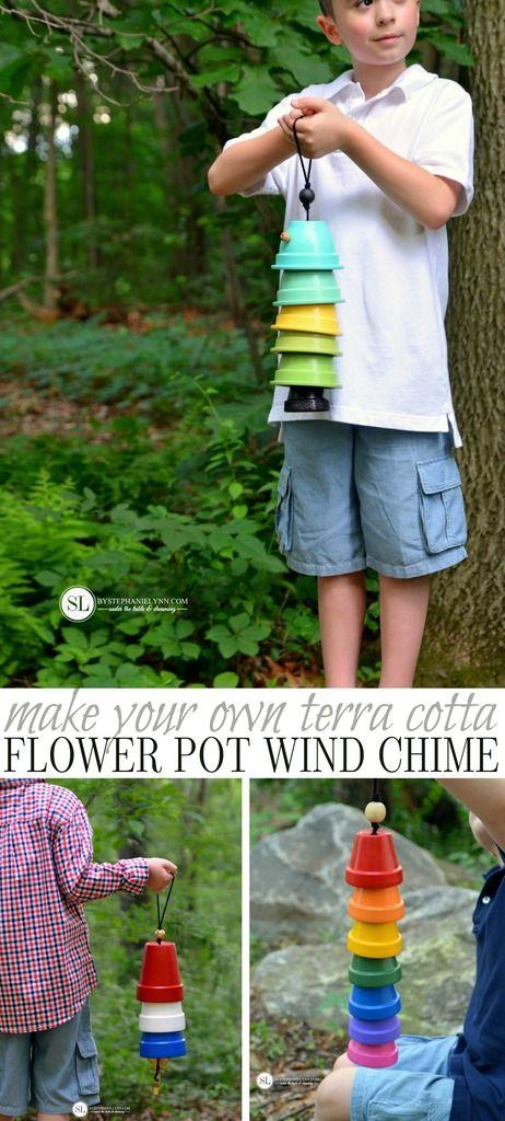 花盆风铃|如何制作一个赤土陶器风铃#michaelsmakers #craftinstyle  - 创造一个独特的花园艺术作品,整个夏天都在户外。适合儿童和成人的有趣夏日工艺品。