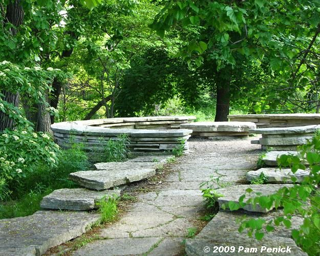 """Jens Jensen The Council Ring, mid-western landscape architect in Chicago in the early- to- mid 1900s with Frank Lloyd Wright and began the """"Prairie School of Landscape Architecture"""". Jensen saw these stone circles as emblematic of the ancient spirit of the woods–the democratic equalization of responsibility and of honor. Sitting on these stones gathered in a continuous circle, there there would be no head of the table, no hierarchy, but all members of the community are important to it."""