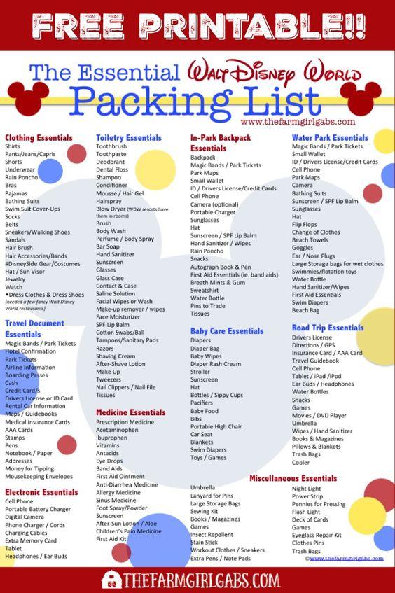 很快就要去沃尔特迪斯尼世界?您想在离开前打印出Essential Walt Disney World Packing List。 #WaltDisneyWorld #DisneySMMC