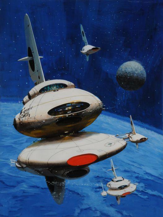 John Berkey - Oval Ship With Red