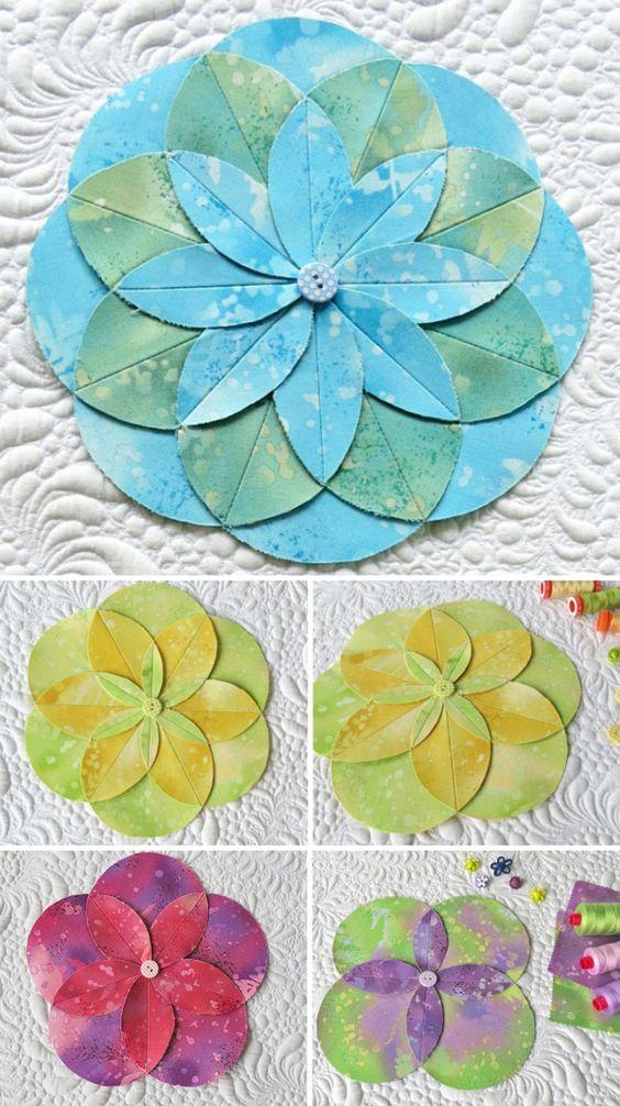 有乐趣折叠和缝制织物花。