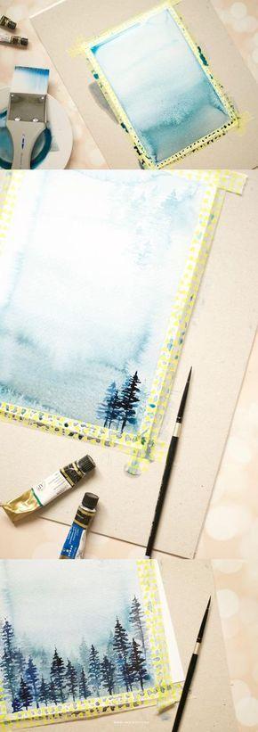 这个冬季水彩风景教程将让你立即想要拿出那些画笔并开始绘画。逐步照片支持。