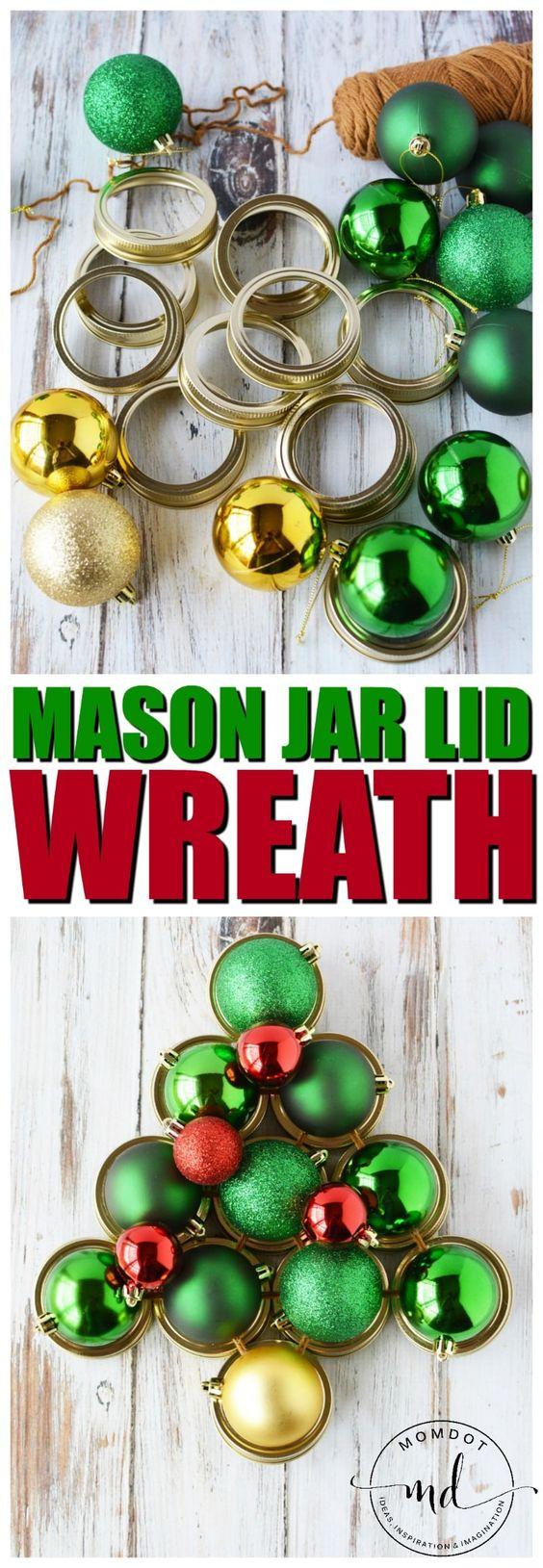 梅森罐子盖花圈工艺品,如何创建任何尺寸的圣诞盖花圈教程,梅森罐工艺教程使用罐头盖塑造一棵树
