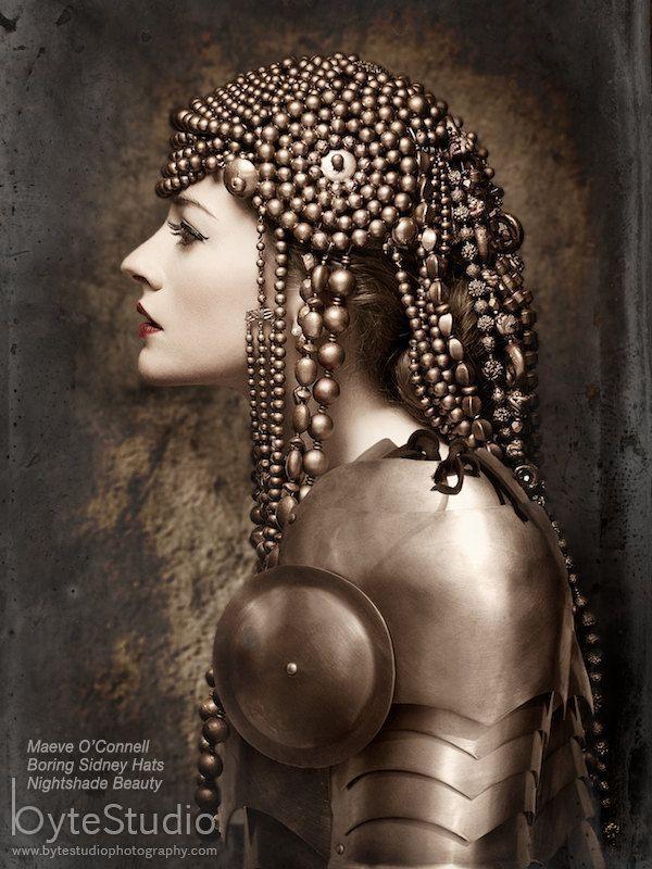 Beaded Headdress Headdress Bronze Beaded Hat Art by BoringSidney, $255.00
