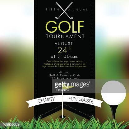 矢量图的精英高尔夫邀请赛布局或海报广告设计模板。绿色,暗灰色的配色方案。包括样本文字设计元素和高尔夫球场,高尔夫球场......