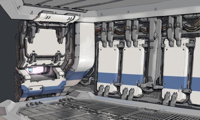 ArtStation - Tech Interior, Toph Gorham, great technical details for Europa Station
