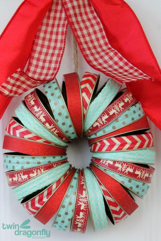 Mason Jar Lid Washi花圈 - 喜欢这些颜色!