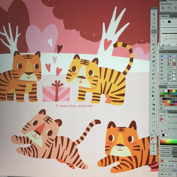 Tigers are in love on my computer #tiger #tigers #forest #instaartist #artistsoninstagram #artlicensing #artoninstagram #vector #vectorillustration #illustrator #illustration #character #cute #cub #animal #safari #lovers #valentines #valentineday #pink #red #eneridotnet #screenshot by cenerie