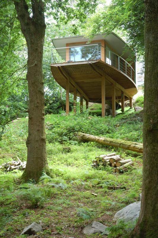 "Carpenter Oak的德文郡""树屋""的另一种观点。罗德里克詹姆斯建筑师事务所"