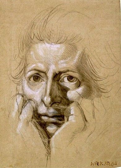 Henry Fuseli  Study for a self-portrait, showing the artist's face cupped in hands  This intense self-portrait shows Fuseli in his forties. He was a man known for his witty character and for defying convention, and yet he portrays himself in a pose of melancholy and self-questioning. His fists are clenched as if he would like to draw our attention to them as his most important artistic tools. The drawing has been dated 1780-1790, thus falling into the period after Fuseli's return to Br