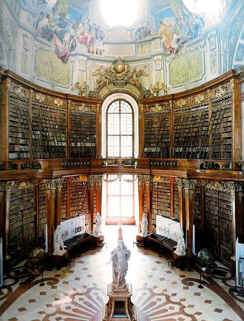 Austrian National Library, Vienna, Austria. This structure was built by Joseph Emanuel Fischer von Erlach between 1723 and 1735, according to a design by his father Johann Bernhard Fischer von Erlach. Both names represent the highest quality in architecture and the Grand Hall of the National Library is said to be the most beautiful library room in the world. (Photo by Candida Höfer)