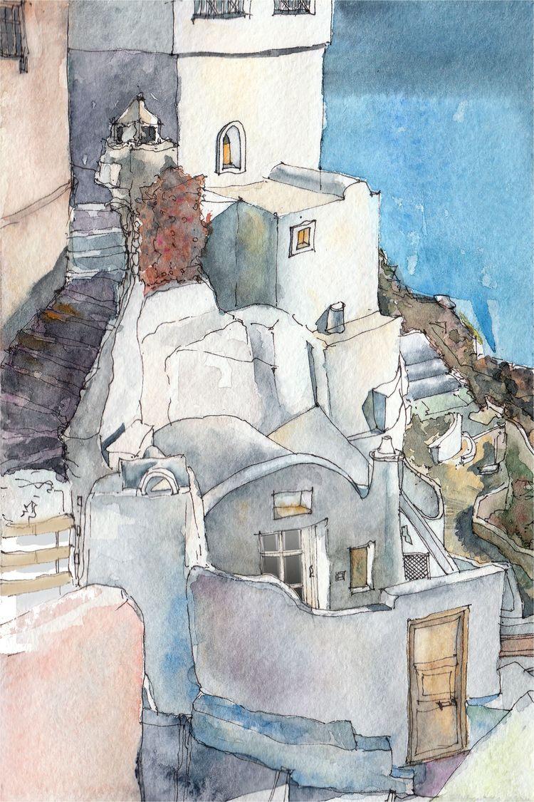 水彩素描圣托里尼岛希腊建筑