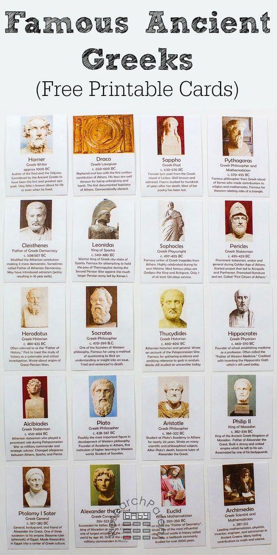 免费的,可打印的20套蒙台梭利启发卡学习着名的古希腊人,如荷马,德拉科,苏格拉底,亚里士多德和亚历山大大帝