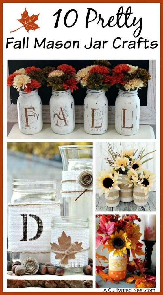 秋天快到了!准备好这些漂亮的秋天梅森罐子工艺品之一!其中许多将制作可爱的桌子中心件或地幔装饰!