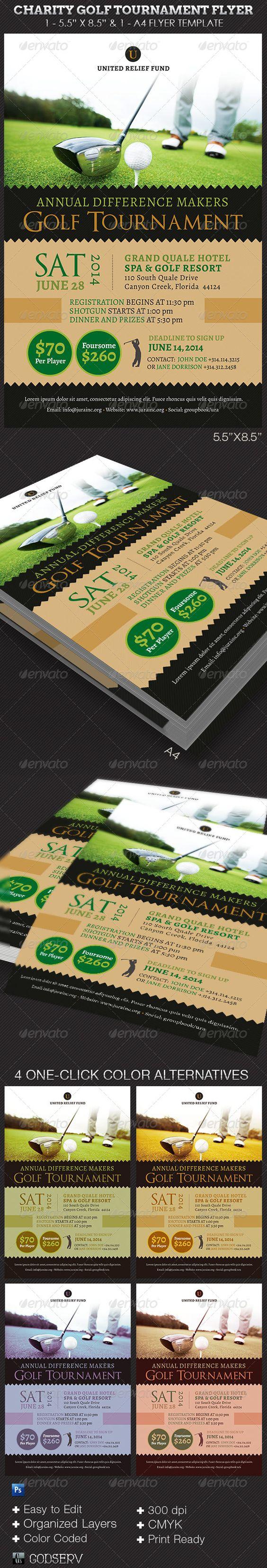 """慈善高尔夫锦标赛传单模板非常适合任何筹款高尔夫锦标赛。也可用于开放日,高尔夫派对或一般事件通知。该模板是由Godserv设计的Photoshop模板,用Photoshop CS4及更高版本进行编辑。一旦你下载了这个模板,使用Adobe Photoshop CS4 +编辑这个模板。包含的内容1  -  5.5""""x8.5""""Photoshop慈善高尔夫锦标赛传单模板1  -  A4 -8.3""""x11.7""""Photoshop慈善高尔夫锦标赛传单模板详细信息•打印尺寸:5.75英寸x8.75英寸/8.55英寸x11.95英寸•4个一键式颜色选项•有组织的图层•颜色编码的图层•CMYK / 300 Dpi•打印就绪•应用程序要求:Photoshop CS4或更高版本使用的免费字体Alegreya:http:// www。"""