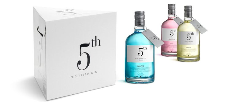 #gin #bottle #packaging #box #white #colorful #minimalism #typography –– 5th Distilled Gin
