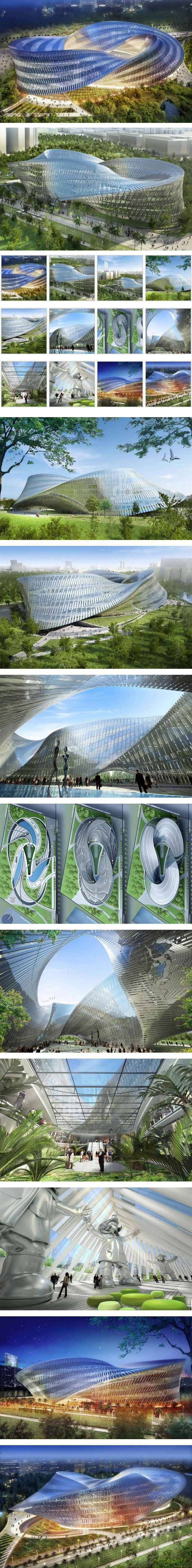 """Swallow's Nest at the North end of the new """"Gateway Park"""" located on the site of the old airport of Taichung city, by Vincent Callebaut Architectures. The project develops itself under the shape of a three-dimensional Möbius' ring:"""