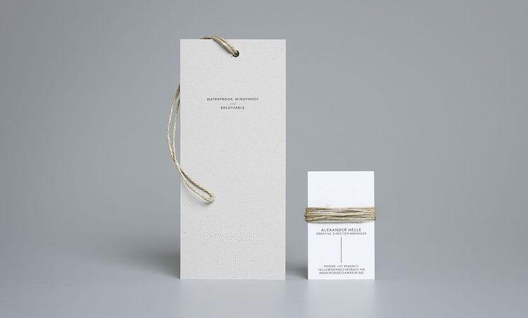 Norwegian Rain branded card and hang tag