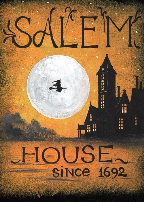ACEO打印绘画RAYTA HALLOWEEN SALEM WITCH SIGN HAUNTED HOUSE SPOOKY ART #VintageFolk