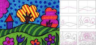 如果您采用一些简单的景观形状并添加大量明亮的图案和颜色,则最终可以获得非常有趣的波普艺术风景画。 •查看并下载波普艺术绘画教程