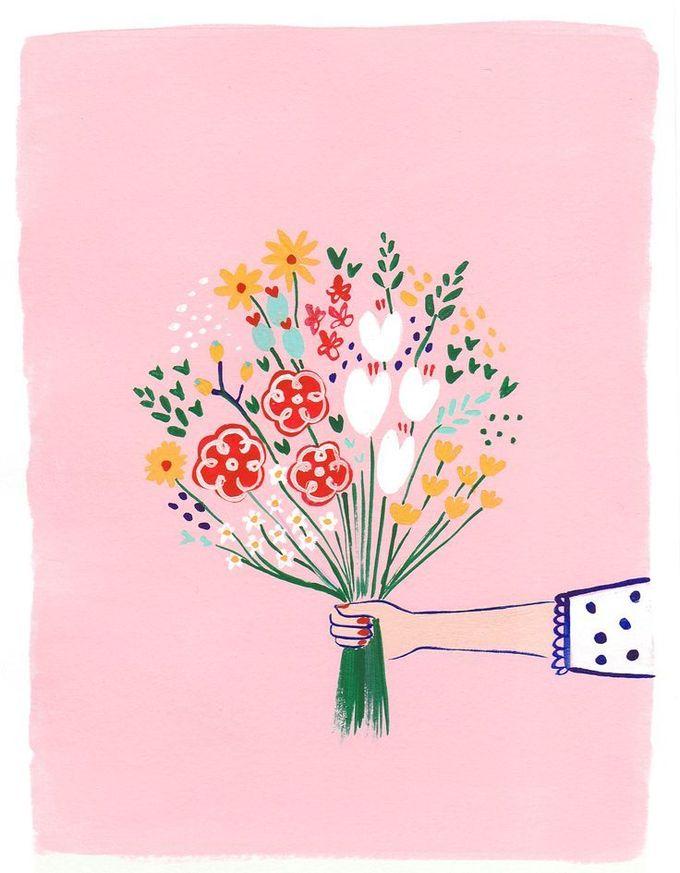 可爱和多彩的花束插图
