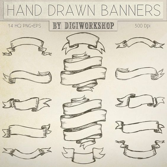 Hand Drawn banners clipart -