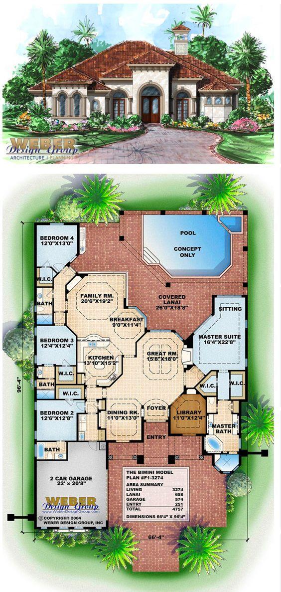 比米尼家居计划,地中海1层热带家居计划。用于海滨/高尔夫球场景观的封闭玻璃墙,覆盖阳台,泳池细节,3,200平方英尺+查看成品家庭室内外照片。