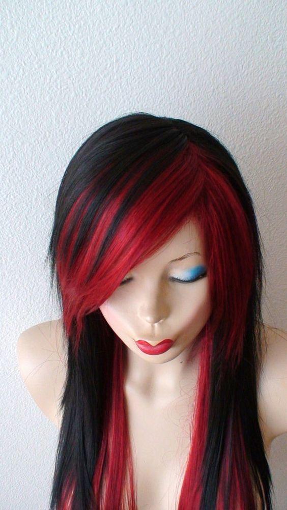 Black /Wine red Scene wig. Emo wig. Scene hair. Emo hair. Long straight black wig