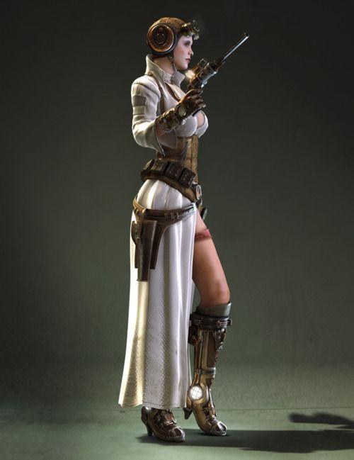 Steampunk Princess Leia by Jeff Miller concept by Bjorn Hurri