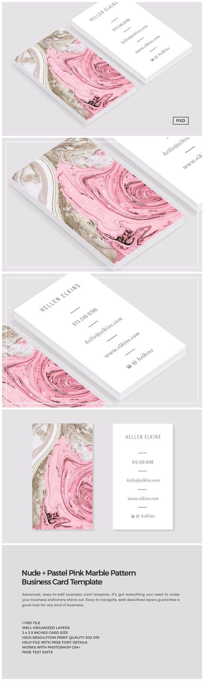 裸体+粉红色大理石名片〜创意市场的名片模板