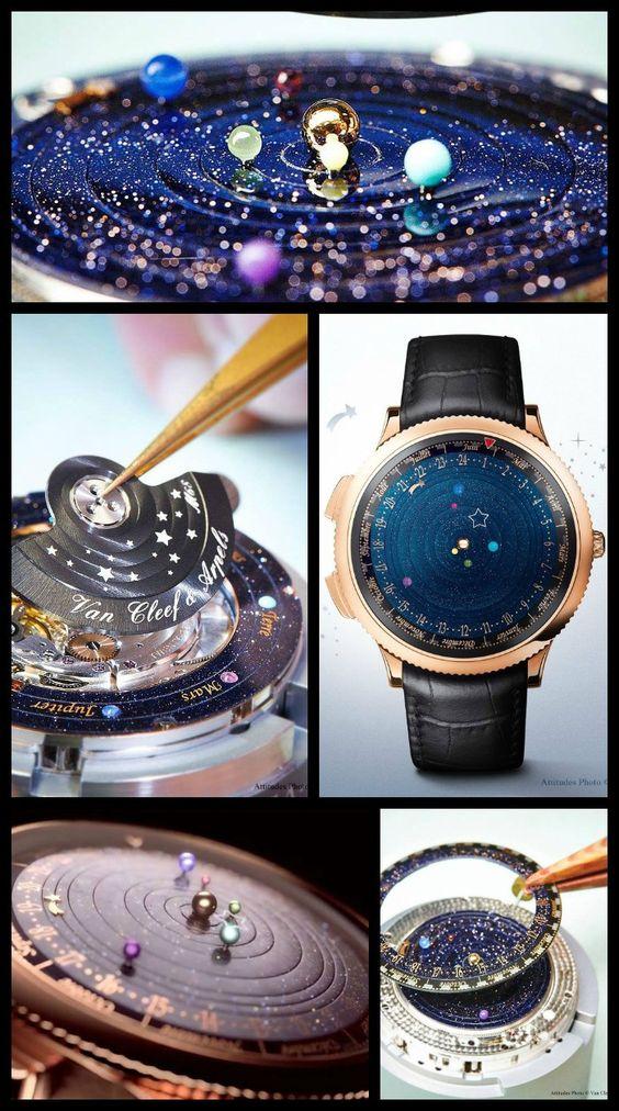 午夜天文馆手表是一个独特而美丽的作品,可以测量最接近太阳的6颗行星的运动。