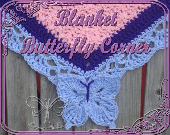 Craftsy.com上的毯子边框图案的蝴蝶角。将我的蝴蝶边框添加到上一轮的任何毛毯边框上!