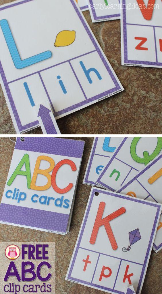 剪辑卡片是孩子们真正喜欢的有吸引力的多感官活动。从早期学习理念中获得一套免费的ABC剪辑卡片