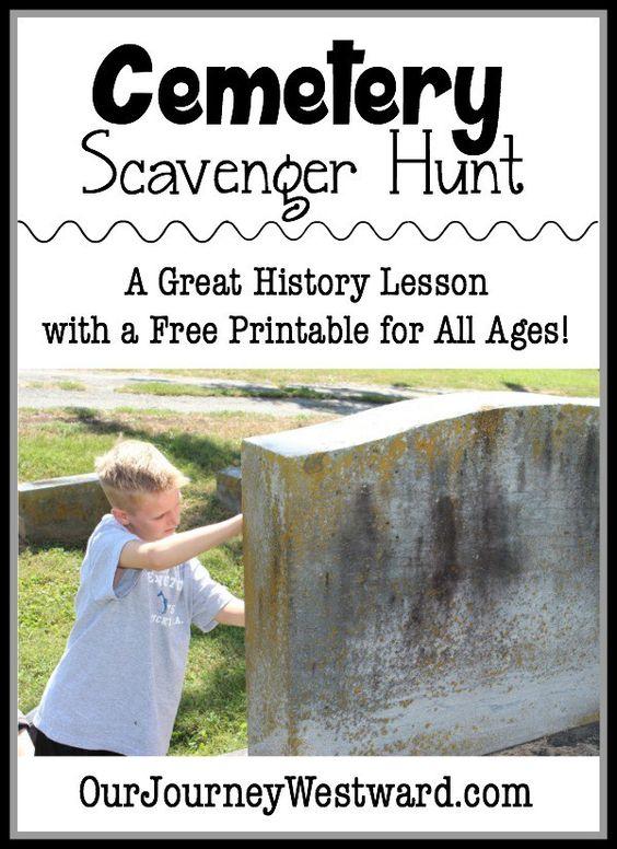 墓地寻宝活动是了解社区历史的好方法!抓住这个免费的可打印,可与多个年龄段使用。