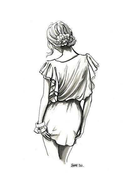 Sketch fashion illustration drawing. Pencil drawing. Black and white.