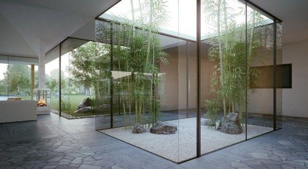 Inspirational Modern Cottage Supplied with Fresh Indoor Garden: Elegant Glass Wall Green Area Courtyard Single Story Modern Cottage Design ~ sabpa.com Villa Inspiration