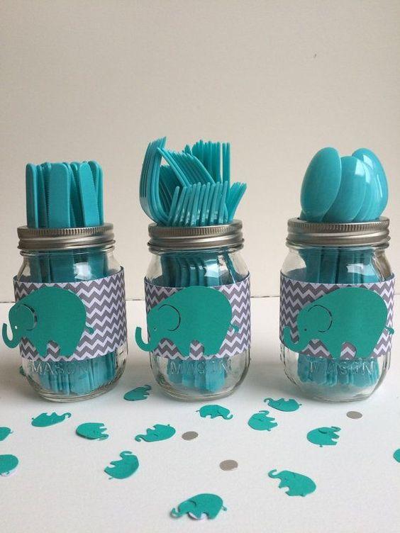 3个梅森罐子器具架,灰色雪佛龙包裹与青色大象非常适合婴儿淋浴或生日派对