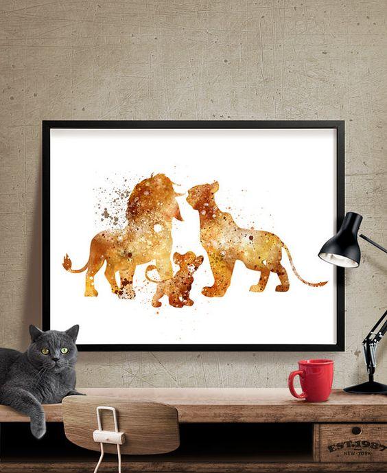 The Lion King Family , Disney Watercolor Art, Nursery Watercolor Art, Wall Art Print, Watercolor Painting, Kids wall art (202)