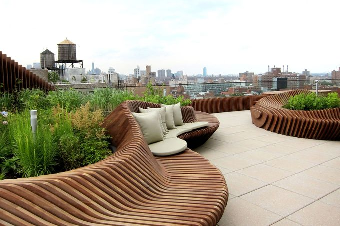 curved metal planter on rooftop terraces - Google Search