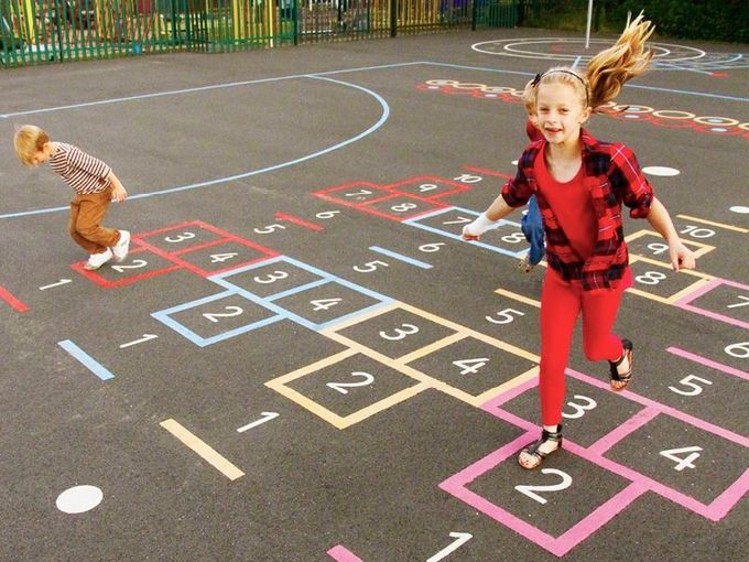Fun, Games and Multi-skills Playground Markings for Schools, sports clubs and play areas.