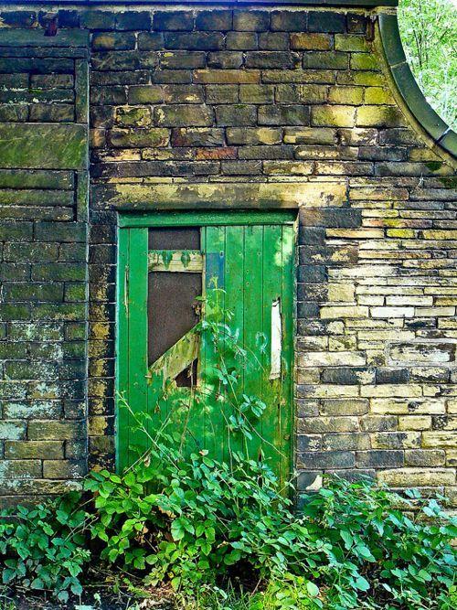 旧绿色的门和砖,时尚的铜绿www.stylishpatina.com