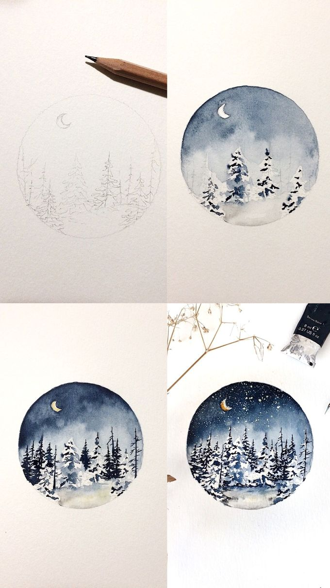 Beautiful snowy night done with watercolors to create this lovely painting.
