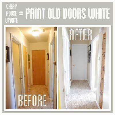 走廊转换,油漆修剪和门白色,如何更新走廊与油漆,更新走廊与白色修剪油漆