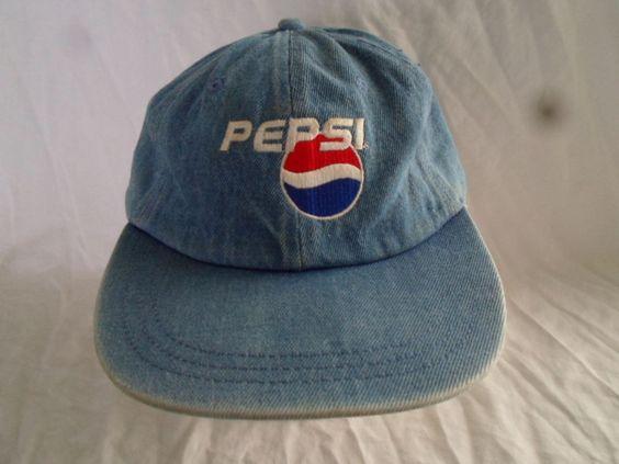 老式百事可乐牛仔棒球帽爸爸帽子折叠绣花标志#Unbranded